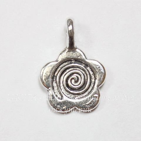 """Бейл с площадкой """"Цветочек"""" 15х10 мм (цвет - античное серебро), 5 штук"""