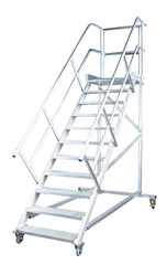 Лестница передвижн. с платф., 8 ступ. 800 мм, из лёгк. металла, 60°