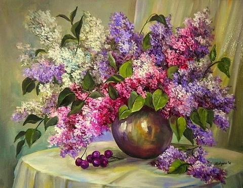 Алмазная Мозаика + Багет 30x40 Разноцветная сирень в вазе на столе
