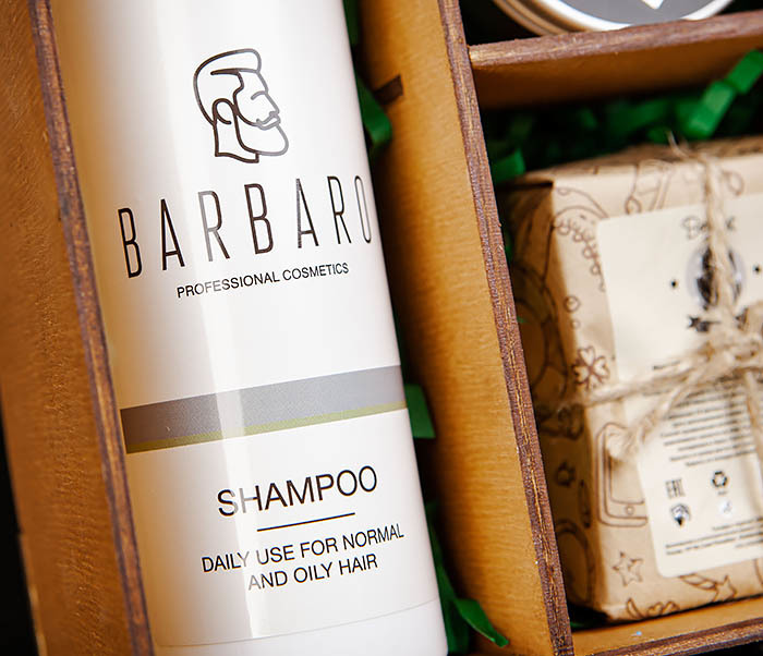 Набор из шампуня для волос, для бороды и угольного мыла для тела фото 04