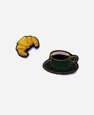 Сет из 2-х брошей coffee cup + croissant