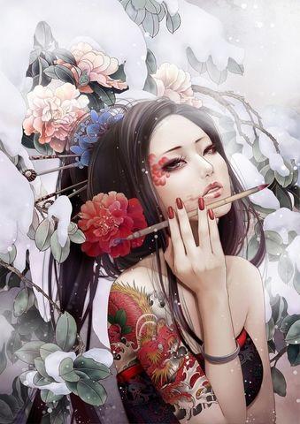 Картина раскраска по номерам 30x40 Художница с татуировками