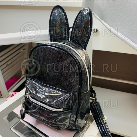 Детский голографический рюкзак с ушами зайца Чёрный с блестками