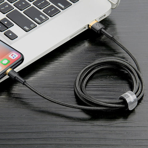 Кабель Baseus cafule Cable USB For lightning 1.5A 2M Gold+Black