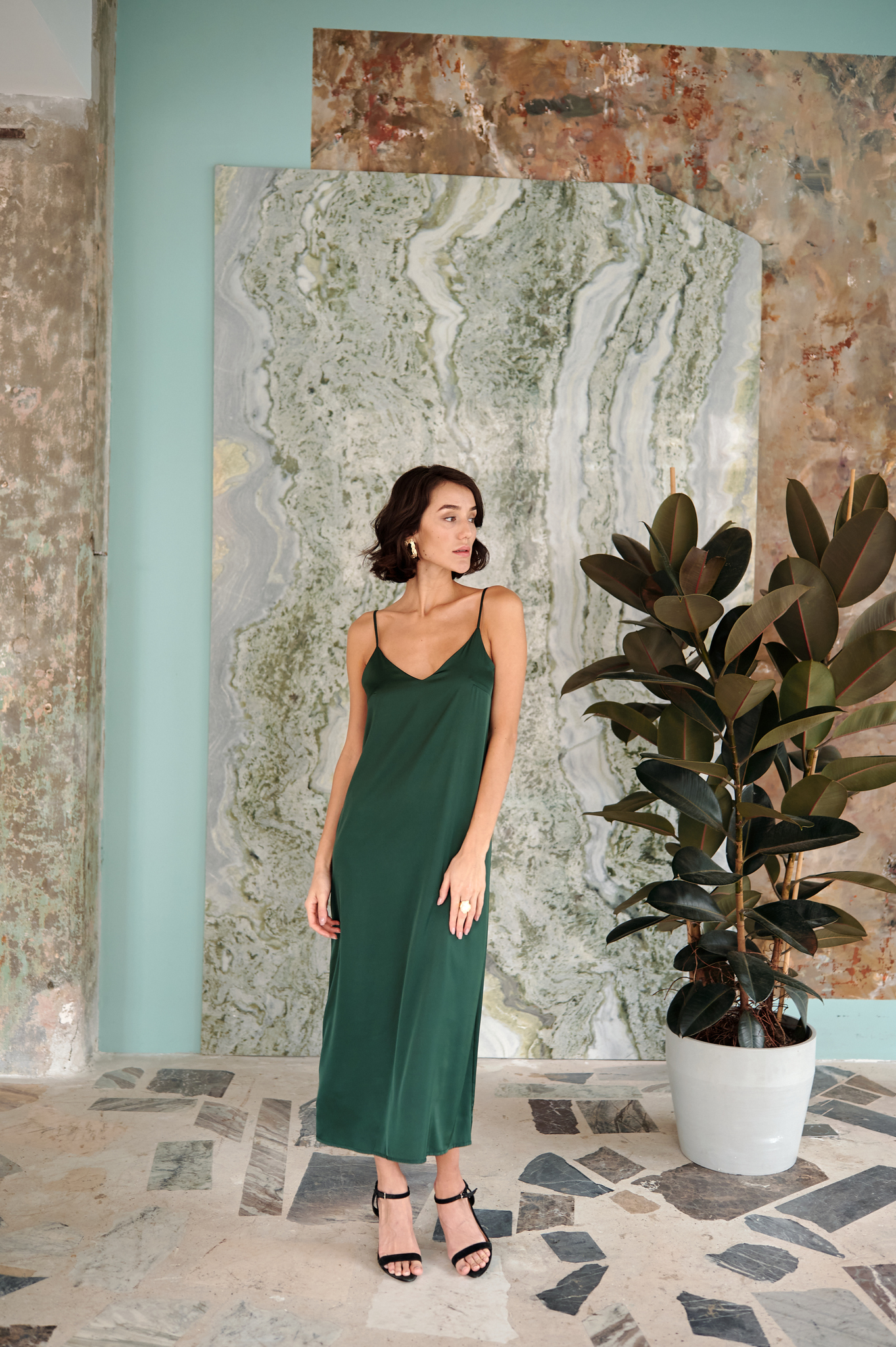 Шелковое платье комбинация (травяной)