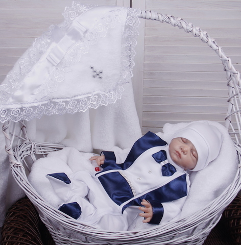 Комплект для крещения: крыжма Бантик + Фрак синий