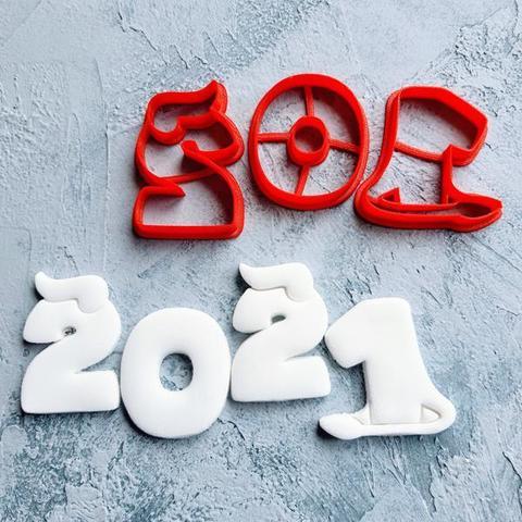 Цифры 2021 с рожками