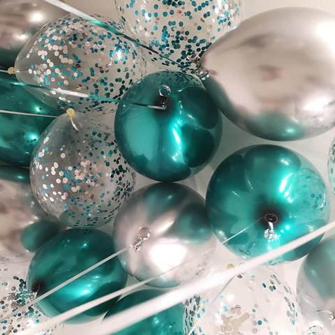 25 шаров 36 см серебро хром, зеленый хром, конфетти