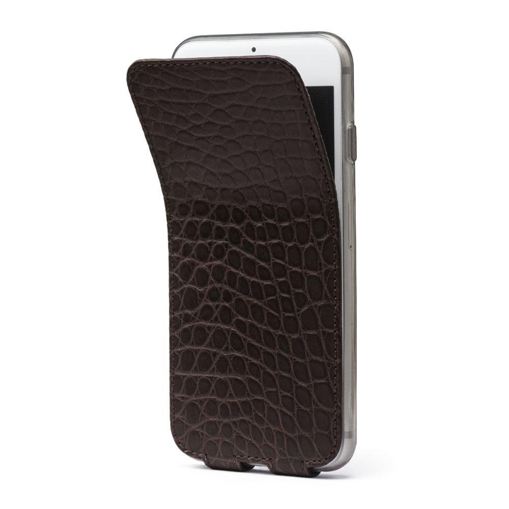 Чехол для iPhone 7 из натуральной кожи аллигатора, темно-коричневого цвета