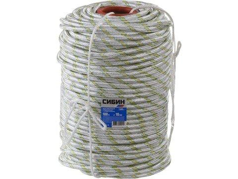 Фал плетёный капроновый СИБИН 24-прядный с капроновым сердечником, диаметр 10 мм, бухта 100 м, 1300 кгс