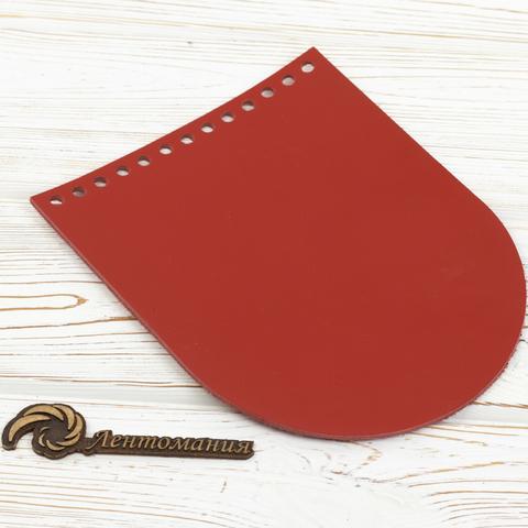 """Клапан для сумочки кожаный  """"Красный"""" 15,5*19,5 см"""