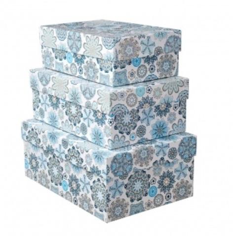 Набор коробок подарочных прямоугольных Снежинки из 3шт, размер: 23х16х9,5 см, белый/голубой