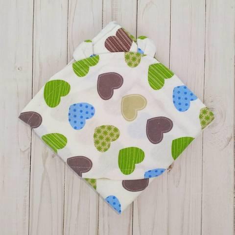 Полотенце-пеленка уголок после купания младенца BabyStarTex, 85х85 см, сердечки разноцветные