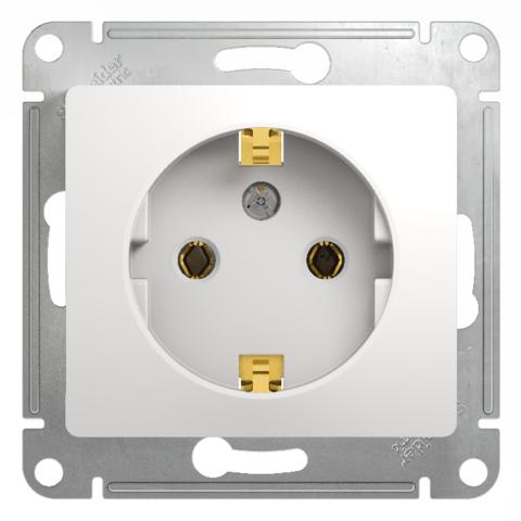 Розетка с заземлением, 16А. Цвет Белый. Schneider Electric Glossa. GSL000143
