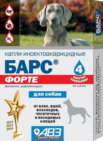 Барс Форте капли против блох и клещей для собак 4 шт