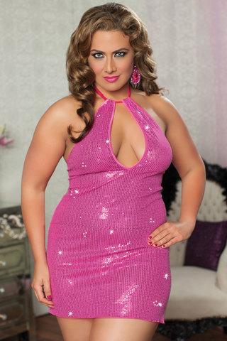 Сверкающее платье увеличенного размера с пайетками