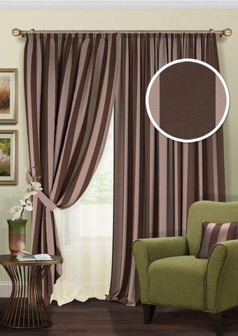Комплект штор блэкаут с тюлем из полуорганзы кофе с молоком с темно-коричневой полосой