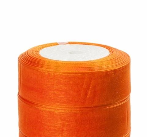 Лента органза (размер:25мм х 25 ярдов) Цвет: оранжевый