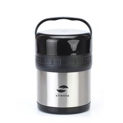 Термос ланч-бокс, Stinger, 1 л, широкий, сталь, серебристый, чёрные вставки, два контейнера