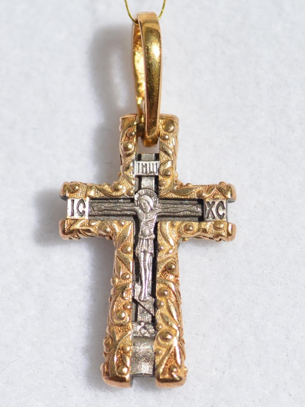 Крест  (кулон из серебра с позолотой)