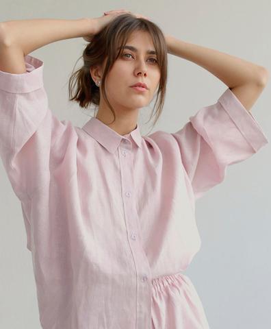 Пижама льняная розовая