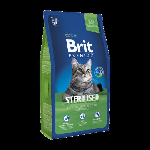 Brit Premium Sterilised Сухой корм для кастрированных котов с курицей и куриной печенью
