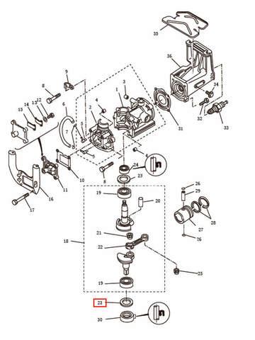 Шайба коленвала для лодочного мотора T2,5 SEA-PRO (2-23)