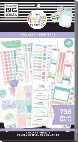 Блокнот со стикерами для ежедневника Create 365 Happy Planner Sticker Value Pack-BIG Wellness - 736 шт