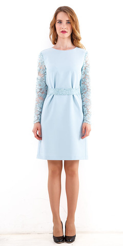 Фото голубое платье со складками по талии с кружевными рукавами и поясом - Платье З241-311 (1)