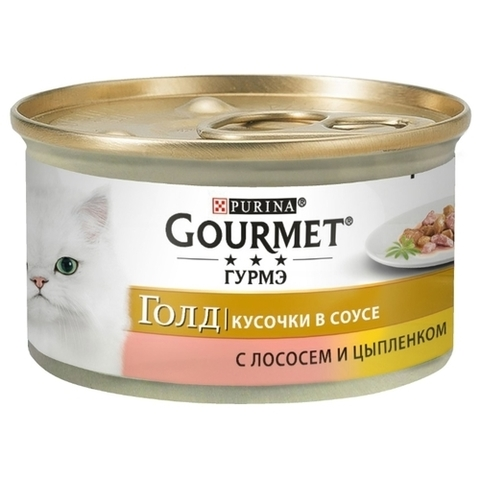 Корм для кошек Gourmet (0.085 кг) 24 шт. Gold Кусочки в подливке с лососем и цыпленком 24 шт