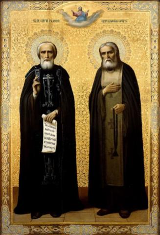 Икона святые Сергий Радонежский и Серафим Саровский на дереве на левкасе мастерская Иконный Дом