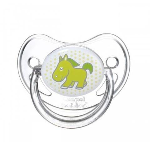 Пустышка анатомическая силиконовая, 6-18 Transparent (лошадка)