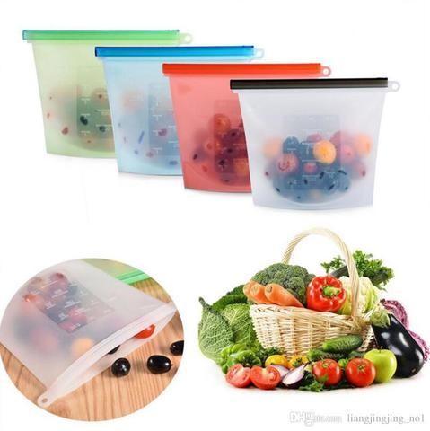 Многоразовый вакуумный  силиконовый  пакет для пищевых продуктов (1000 мл)
