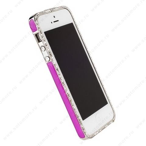 Бампер Newsh металлический для iPhone SE/ 5s/ 5C/ 5 со стразами темно-розовый