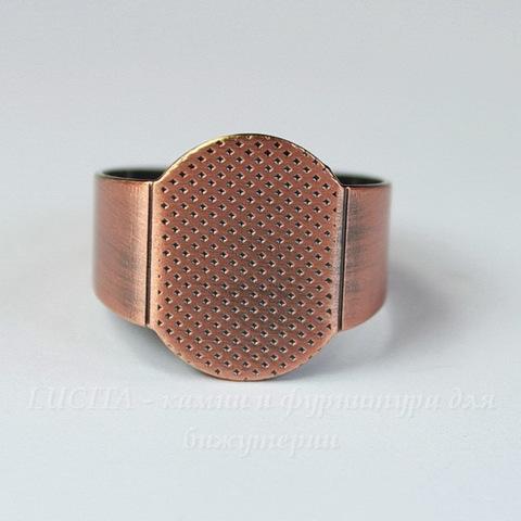 Основа для кольца с площадкой 15х11 мм (цвет - античная медь)
