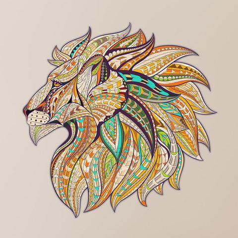 Настенная мандала Геометрический лев
