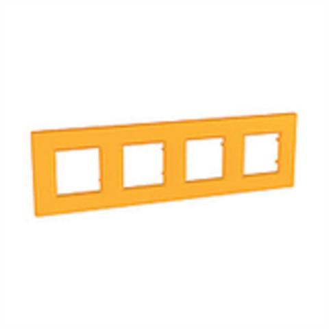 Рамка на 4 поста. Цвет Оранж. Schneider Electric Unica Quadro. MGU4.708.29