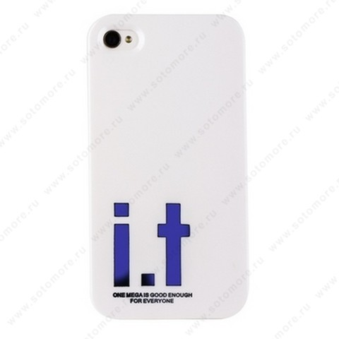 Накладка i.t с водонепроницаемым мешком для iPhone 4s/ 4 с большими синими буквами белая