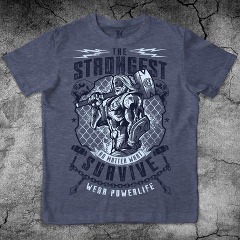 Купить хлопковую футболку The Strongest Survive для пауэрлифтинга, для зала, фитнеса, стиль жизни