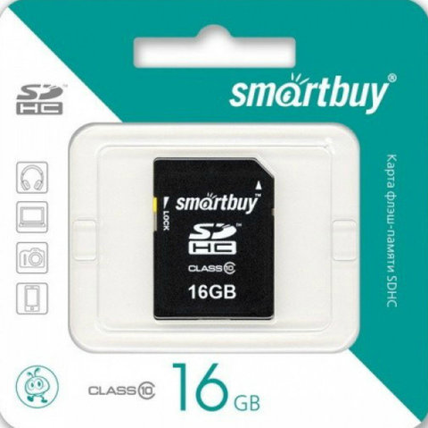 Карта памяти SDHC  16GB  Smart Buy Class 10