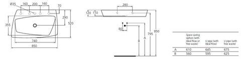 Раковина Ideal Standard SimplyU T097501  на 85 см. схема