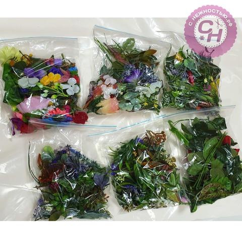 Листья растений + цветочные добавки, набор ассорти, 1 шт.