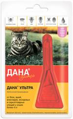 Дана Ультра капли от блох и клещей для кошек и котят БОЛЕЕ 4 кг (1 пипетка)