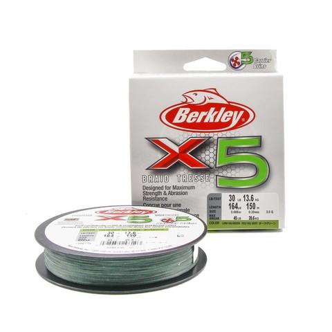 Плетеная леска Berkley X5 150м Темно-зеленая 0,20мм 13,6кг