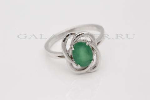 Кольцо с зеленым агатом из серебра 925