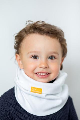 детский снуд-горловинка из хлопка гладкий белый
