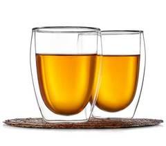 Два стакана с двойными стенками 350 мл, из прозрачного стекла