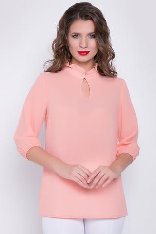 <p>Классическая романтическая блузка в позитивных расцветках. Ворот - стойка с рюшей, рукав 3/4 на резинке.&nbsp; (Длина: 46-52= 67 см)&nbsp;</p>