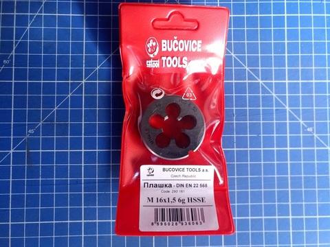 Плашка М16x1,5 DIN EN22568 6g HSSE52(HSS-Co5) 45х14мм S5 Bucovice(СzTool) 290161