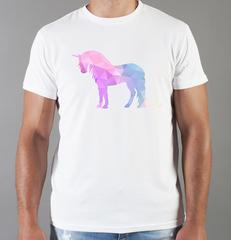 Футболка с принтом Единорог (Unicorn) белая 002